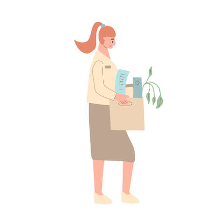 Unemployed woman. Dismissed sad character holding paper box. Work crisis. Fired unhappy young person standing with her stuff isolated on white background. Job search. Vector flat illustration.