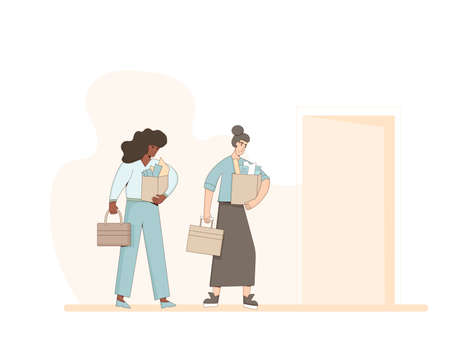 Unemployed women. Dismissed sad coworkers holding paper box collection leaving their office. Work crisis. Fired unhappy women with his things isolated on white background. Vector illustration.