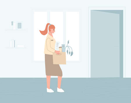 Unemployed woman. Dismissed sad clerk holding paper box leaving her office. Work crisis. Fired man. Vector illustration.