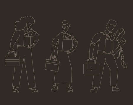 Unemployment concept. Dismissed sad characters set holding paper box. Work crisis. Fired unhappy people standing with their things. Job loss. Vector flat illustration.  イラスト・ベクター素材