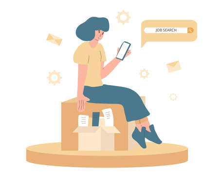 Unemployment character. Dismissed sad person with paper box. Fired unhappy young woman sitting with her things and tying to seach job with her phone isolated on white background. Vector illustration.