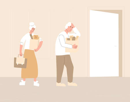 Unemployed senior people. Dismissed sad coworkers holding paper box leaving their office. Work crisis. Fired mature man and woman with their things. Vector illustration.