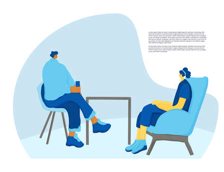 Interview concept. Mature and young persons sitting and talking about vacancy. Business people having a hr conversation. Vector illustration.