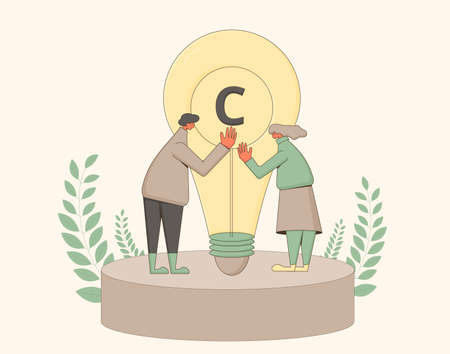 Intellectual property rights. Plagiarism and infringement of copyright. Vector character with creative new idea symbol. Stock Illustratie