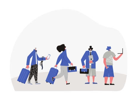 Bleisure concept. Work life balance. Digital nomads. Female and male travelers going to their flight with luggage. 일러스트