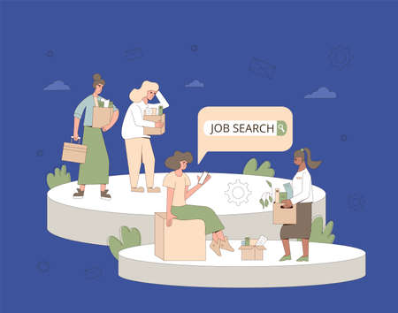 Unemployment concept. Dismissed sad women holding paper box. Work crisis. Fired unhappy persons standing with their things. Hard with job search. Vector flat illustration.