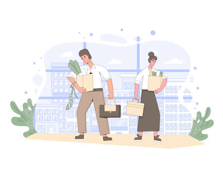 Unemployment concept. Dismissed sad characters holding paper box. Work crisis. Fired unhappy two friends standing with his things. Coworkers standing together. Vector line art illustration.