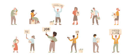 Protests against dismissal set characters. Jobless people. Job search. Unemployed in search of work. Group of people shows the sign isolated on white background.  イラスト・ベクター素材