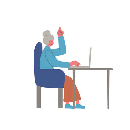 Video call. Interview online. Adult woman sitting on laptop and talking about job. Vecotor flat illustration.
