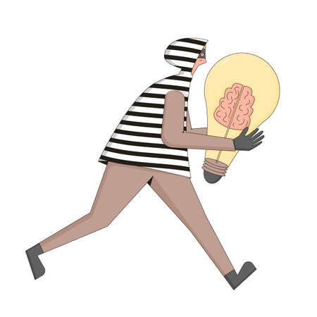 Plagiarism and infringement of copyright. Character running with stolen creative idea symbol.  Thief with huge bulb in his hand.