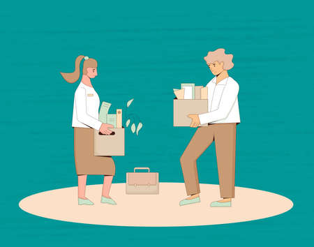 Unemployment concept. Dismissed sad woman and man holding paper box. Work crisis. Fired unhappy two friends standing with his things. Coworkers standing together. Vector line art illustration.