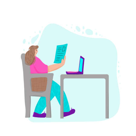 Brunette woman sitting at the table and reading her notes. Female character using her laptop. Girl wearing  casual clothes working with computer. Online education concept.