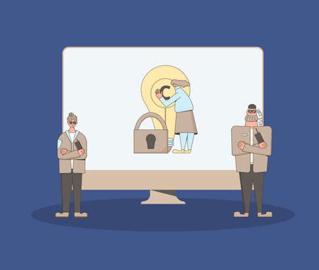 Copyright Data and digital content protection concept. Security guards defending creator. Two guards saving rigths of data owner. Vector characters with computer screen.