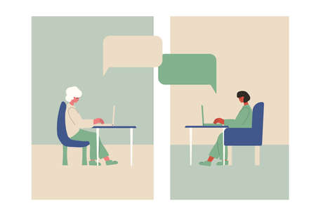 Video call. Interview online set. Two woman sitting on laptop and remote talking with coworkers or family. Vecotor flat illustration.