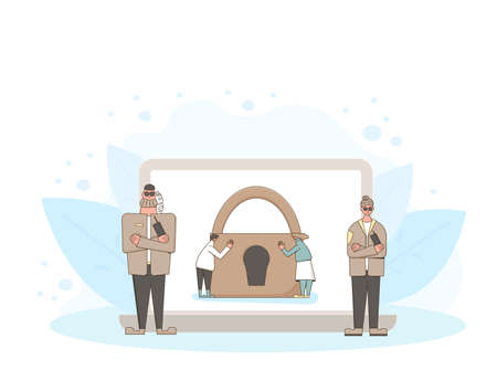 Online privacy. Data protection concept. Security guards defending confidential information. Two characters saving social media users trails. Characters with laptop and lock sign.
