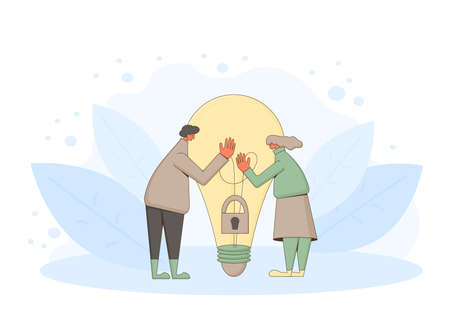 Creative idea team. Find a solution together. Vector characters with creative new idea symbol. 向量圖像