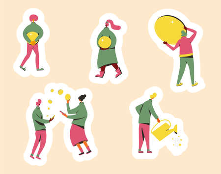 People with coins stickers set. Investment, exchange, watering plant with money scenes. Minor shareholders getting money. Finance business characters. Vector flat illustration.