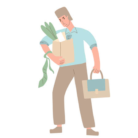 Unemployed character. Dismissed sad person holding paper box. Work crisis. Fired unhappy man standing with his things isolated on white background. Job search. Vector flat illustration.  イラスト・ベクター素材