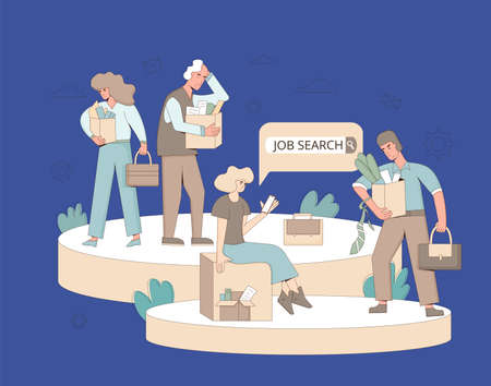 Unemployment concept. Dismissed sad characters holding paper box. Work crisis. Fired unhappy collegues standing with his things. Job search. Vector flat illustration.