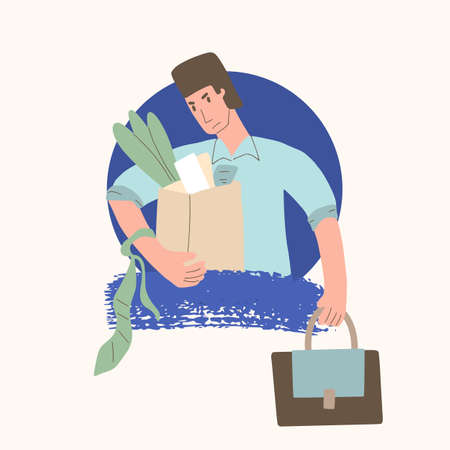 Unemployed character. Dismissed sad person holding paper box. Work crisis. Fired unhappy man portrait with his things isolated on white background. Job search. Vector flat illustration.
