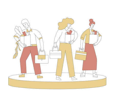 Unemployment concept. Dismissed sad characters holding paper box. Work crisis. Fired unhappy man and two women standing with his things. Three coworkers standing together. Vector illustration.