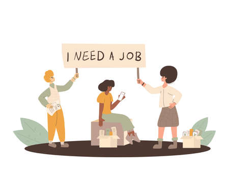 Protests against dismissal. Jobless people. Job search. Three unemployed in search of work. Group of people holding blank with I need a job message. Vector flat illustration.  イラスト・ベクター素材