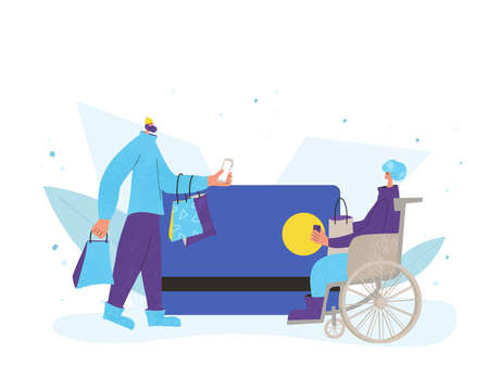Online payment. Two characters with shopping bag. Tiny people with huge credit card scene. Sale concept. Vector flat illustration.