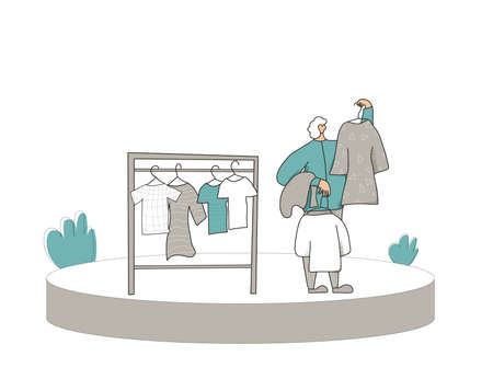 Clothes seller scene. Person showing vintage dresses. Second hand shop. Resale Vector illustration. 일러스트