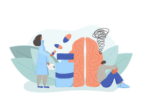 Mental disorder treatment. Psychiatric isuess or psychological problems. Psychotherapist and patient with bad mood. Vector flat cartoon illustration.