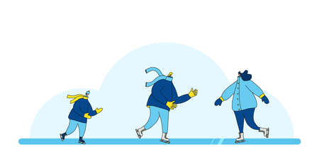Ice skaters. Different ages persons dressed in warm winter clothes skating on the rink. Family winter weekend. Father, mother and son having fun together outdoor. Vector illustration.