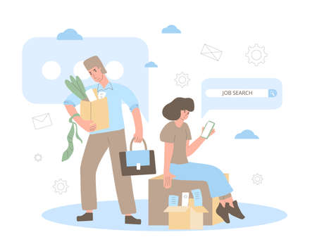 Unemployment concept. Dismissed sad character holding paper box. Work crisis. Fired unhappy man standing with his things. Job search. Vector flat illustration.  イラスト・ベクター素材