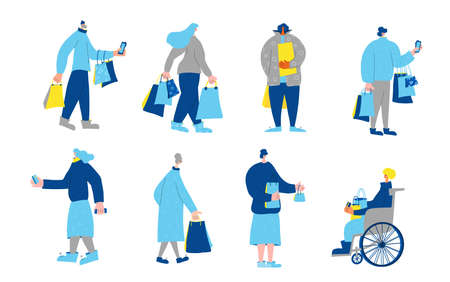 Set of customer characters with shopping bags. People dressed in casual trendy clothes standing with purchases isolated on white background. Collection of clients of stores. Vector flat illustration. Stock Illustratie