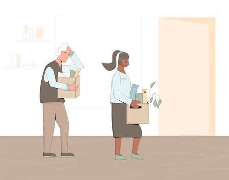 Unemployed people. Dismissed sad coworkers holding paper box leaving their office. Work crisis. Fired man and woman with their things. Vector illustration.