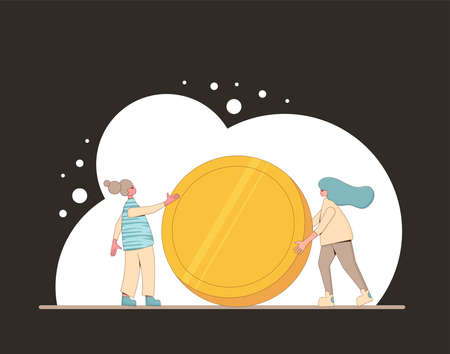 Money concept. Two girls with big coin. Line art flat vector illustration.