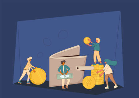 Life savings concept. Young people raising money together. Teenagers with huge coins and purse. Line art flat vector illustration.