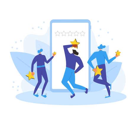 App feedback concept. Client giving a good grade. Stock Illustratie