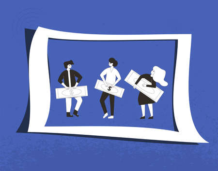 Money profit concept. Three characters holding a huge paper money. Line art flat vector illustration.