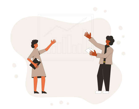 Investment analytics. Financial report concept. Business presentation preparation. People with board. Vector flat illustration.