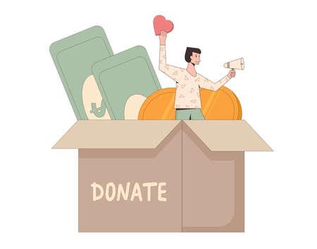 Donate concept. Donation box. Tiny man with money for charity. Line art flat vector illustration. Illusztráció