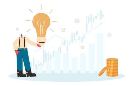 Ivestment idea concept. Stock market boom. Man with lightbulb and coins stack. Vector flat illustration.
