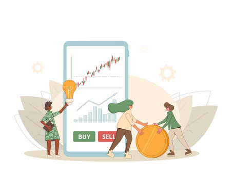 Investment adviser. Online trading technology. Minor shareholders getting money. Stock market boom. Growth in equity prices. Tiny people with huge phone and coin. Vector flat color illustration.