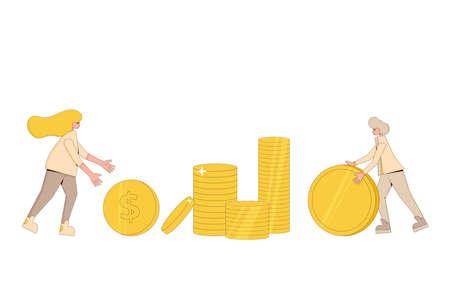 Money profit concept. Two characters rolling a huge golden coins. Line art flat vector illustration. Illusztráció
