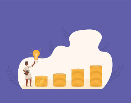 Business idea concept. Financial goal. Woman with bulb and coins stacks. Line art flat vector illustration.