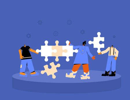 Teamwork concept. Business team coworking Tiny people with huge puzzles pieces. Collaboration. Vector flat illustration. Illusztráció