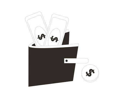 Cash concept. Wallet with money isolated on white background. Purse with banknotes and coin. Line art vector illustration.