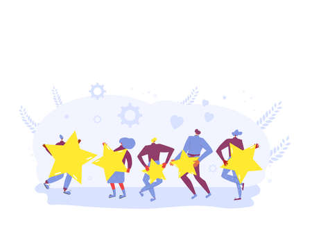 Feedback concept. Happy clients standing and dancing with mark symbols. People holding stars in their hands. Service rating. Consumer product review Vector flat illustration. Illusztráció
