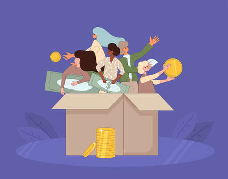 Fundraising concept. People in the box holding money the have got from volunteers. Line art flat vector illustration.