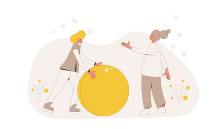 Family budget concept. Young pair holding a huge coin. Line art flat vector illustration.