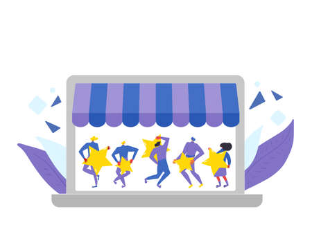 Customer review rating. Feedback concept. Happy clients standing and dancing with gold stars on laptop screen. Online store reputation. Shopping website ranking. Vector flat illustration. Illusztráció