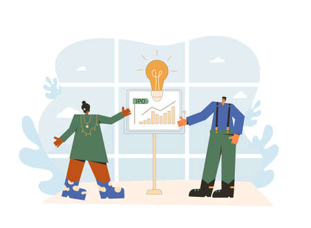 IPO concept. Initial public offering. Stock market. People with board with graph. Managers giving a presentation. Vector flat illustration.